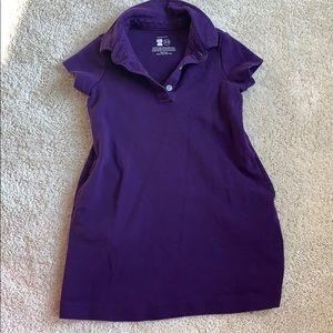 Primary purple collared short sleeve dress